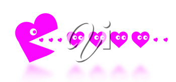 Concept of dating - big Pacman heart hunting small hearts - pink