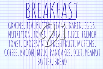 Breakfast word cloud written on a piece of paper