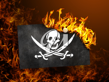 Flag burning - concept of war or crisis - Pirate