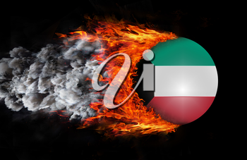 Concept of speed - Flag with a trail of fire and smoke - Kuwait