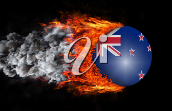 Concept of speed - Flag with a trail of fire and smoke - New Zealand