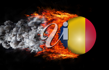 Concept of speed - Flag with a trail of fire and smoke - Romania