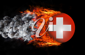 Concept of speed - Flag with a trail of fire and smoke - Switzerland