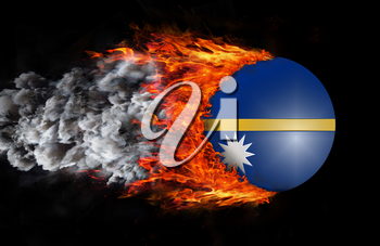 Concept of speed - Flag with a trail of fire and smoke - Nauru