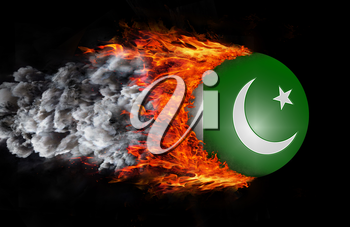 Concept of speed - Flag with a trail of fire and smoke - Pakistan