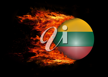 Concept of speed - Flag with a trail of fire - Lithuania