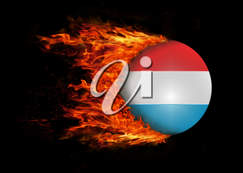 Concept of speed - Flag with a trail of fire - Luxembourg