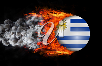 Concept of speed - Flag with a trail of fire and smoke - Uruguay