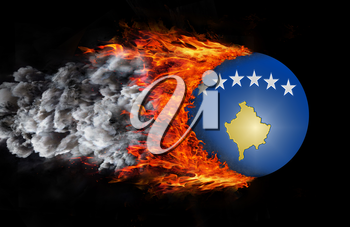 Concept of speed - Flag with a trail of fire and smoke - Kosovo