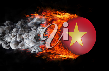 Concept of speed - Flag with a trail of fire and smoke - Vietnam