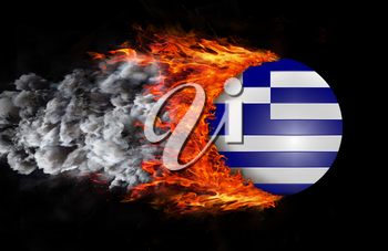 Concept of speed - Flag with a trail of fire and smoke - Greece