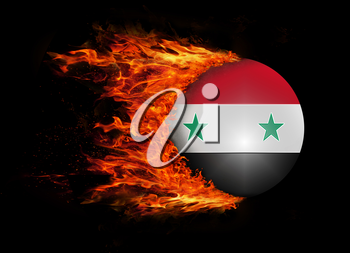 Concept of speed - Flag with a trail of fire - Syria