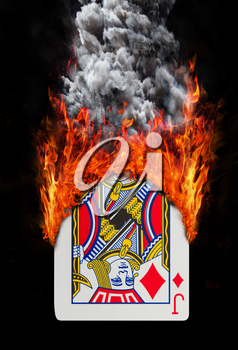 Playing card with fire and smoke, isolated on white - Jack of diamonds