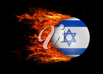 Concept of speed - Flag with a trail of fire - Israel