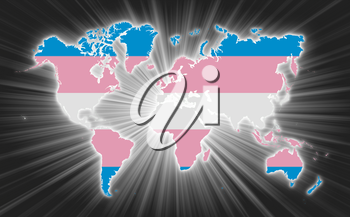 Map of world with starburst on background, Trans Pride