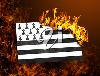 Flag burning - concept of war or crisis - Brittany