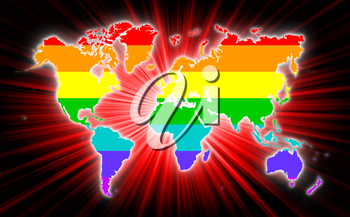 Map of world with starburst on background, Rainbow flag