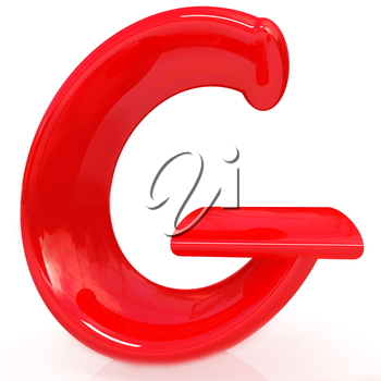 Alphabet on white background. Letter G on a white background