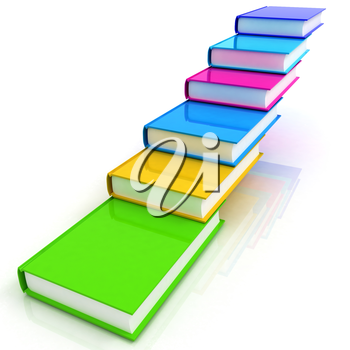 colorful real books on a white background