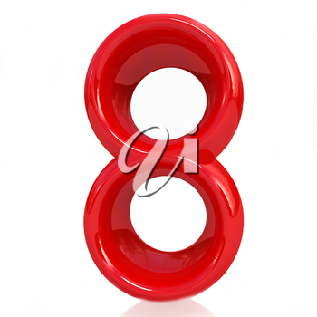 Number 8- eight on white background.