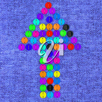 colorful real button arrow sewn to the cloth