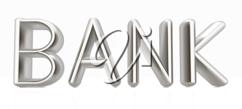 3d metal text bank on a white background