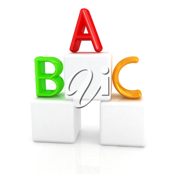 alphabet and blocks on a white background