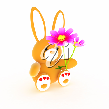 soft toy hare with a little red hearts on white paws and cosmos flower on a white background