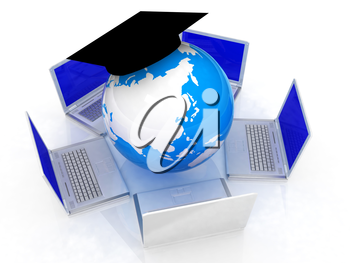 Global On line Education on a white background