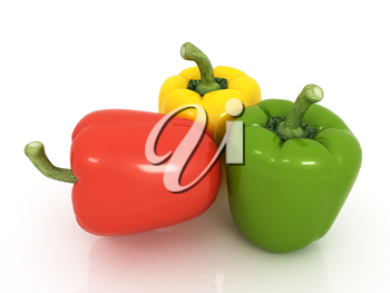 Bell peppers (bulgarian pepper) on a white background