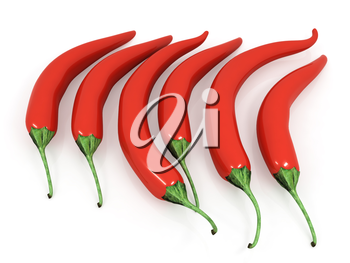 red hot chili peppers on a white background