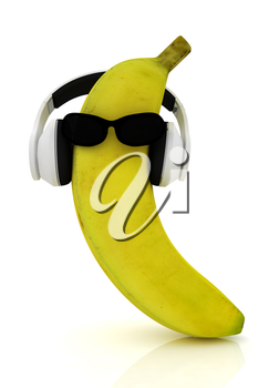 banana with sun glass and headphones front face on a white background