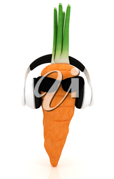 carrot with sun glass and headphones front face on a white background