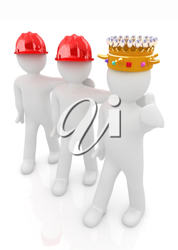 3d people - man, person with a golden crown. King with person with a hard hat