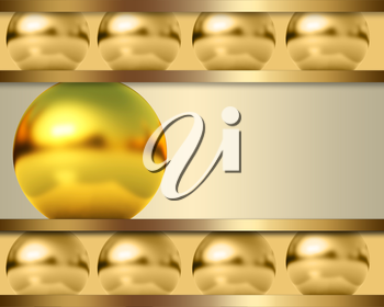 Abstract template with golden ball