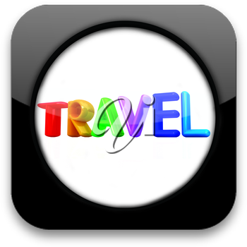 Glossy icon with colorful text travel
