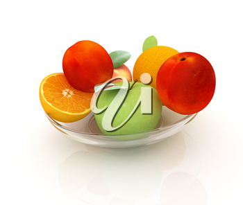 Citrus and apples on a white background