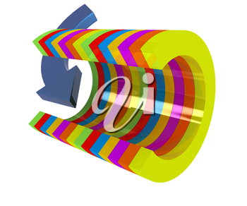 3d colorful abstract cut pipe and arrow on a white background