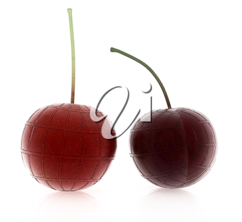 Sweet cherries on a white background
