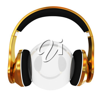 Gold headphones icon on a white background