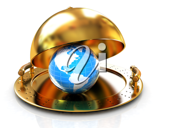 Earth globe on glossy golden salver dish under a golden cover on a white background