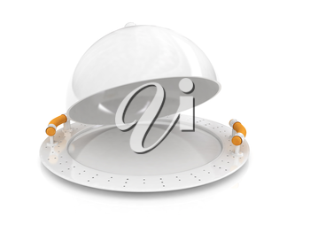 Restaurant cloche with lid on a white background