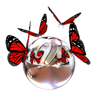 Red butterfly on a chrome reflective sphere on a white background