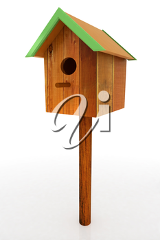 Nest box birdhouse on a white background