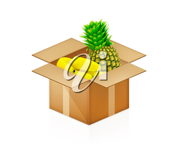 pineapple and bananas in cardboard box on a white background