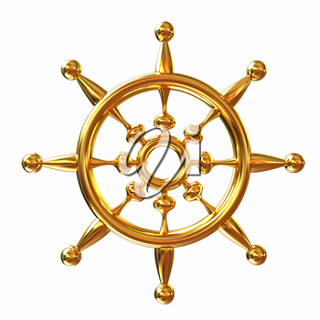 Gold steering wheel on a white background