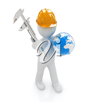 3d man engineer in hard hat with vernier caliper and Earth on a white background