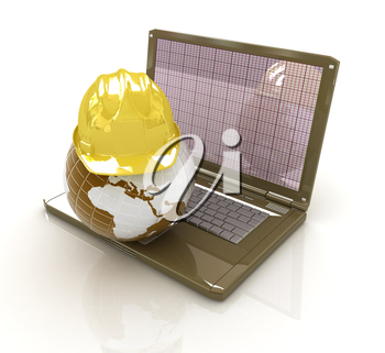 Hard hat and earth on a laptop on a white background
