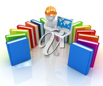 3d man in hard hat working at his laptop and books on a white background