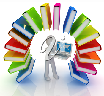 Colorful books like the rainbow and 3d man with laptop on a white background